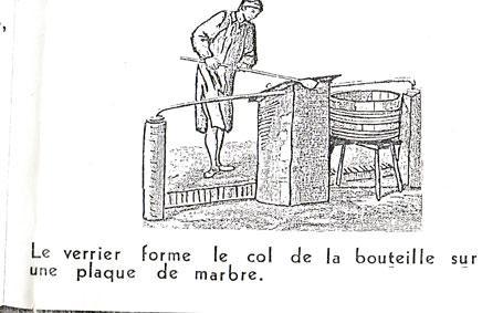 le verrier forme le col de la bouteille